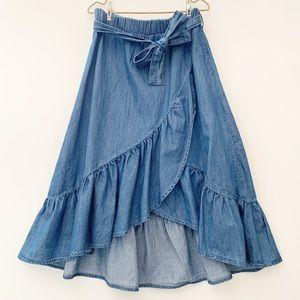 Zara girls chambray midi skirt